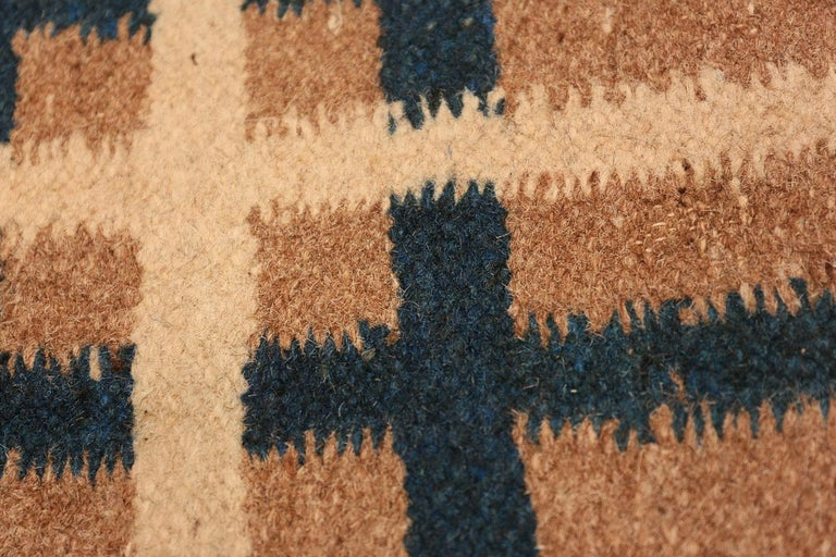 Vintage Art Deco Kilim from India. Size: 9 ft x 11 ft 8 in (2.74 m x 3.56 m) For Sale 1