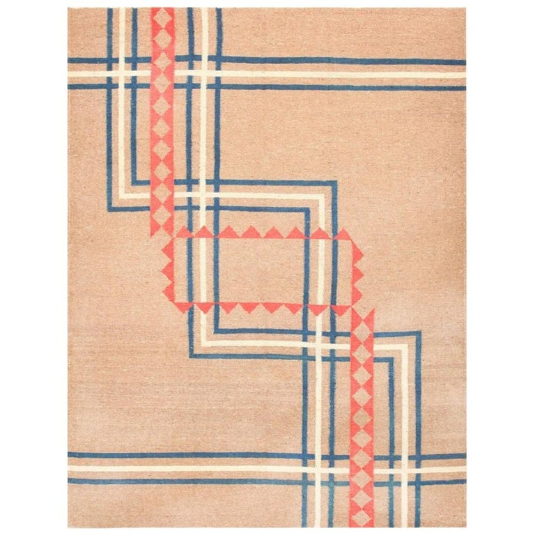 Vintage Art Deco Kilim from India. Size: 9 ft x 11 ft 8 in (2.74 m x 3.56 m) For Sale