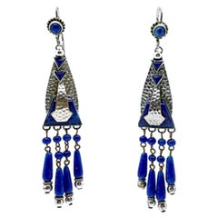 Vintage Art Deco Lapis Blue & Silver Earrings