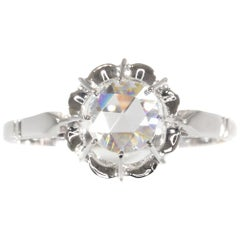 Vintage Art Deco Large Rose Cut Diamond Engagement Ring Also Called Solitair