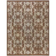 Vintage Art Deco Light Brown and Sand Handwoven Wool Carpet