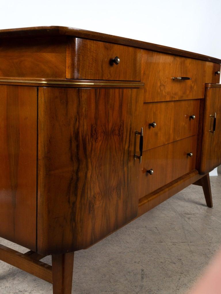 English Vintage Art Deco Midcentury Figured Walnut Credenza Sideboard, England For Sale