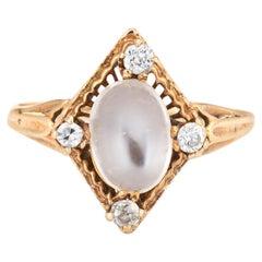 Vintage Art Deco Moonstone Diamond Ring 14k Yellow Gold Estate Fine Jewelry 6.75