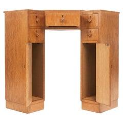 Vintage Art Deco Oak Corner Desk