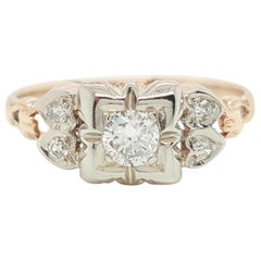 Vintage Art Deco Old European Cut Diamond Two-Tone Gold Engagement Ring