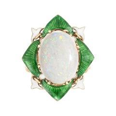 Vintage Art Deco Opal Enamel Ring Fleur de Lis Cocktail 14k Yellow Gold Estate