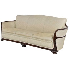 Vintage Art Deco or Art Nouveau Sofa with Walnut Frame & Trim from Vargas Furn.