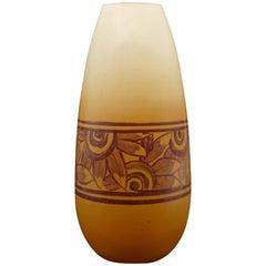 Vintage Art Deco Orange Vase, France, 1920-1930