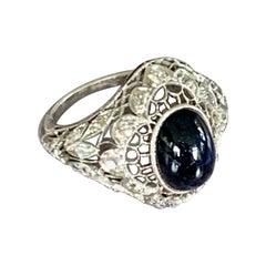 Vintage Art Deco Oval Cabochon Natural Blue Sapphire and Diamond Platinum Ring