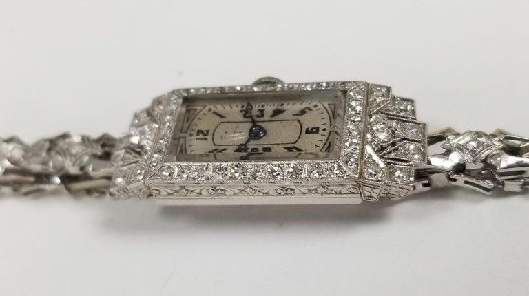 Round Cut Vintage Art Deco Palladium Diamond Watch For Sale