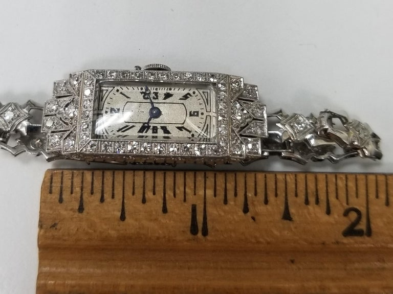 Vintage Art Deco Palladium Diamond Watch In Excellent Condition For Sale In Los Angeles, CA