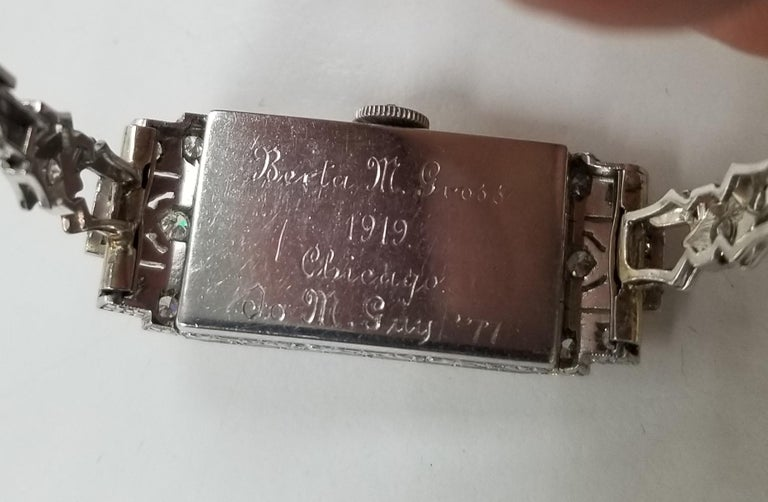 Women's Vintage Art Deco Palladium Diamond Watch For Sale