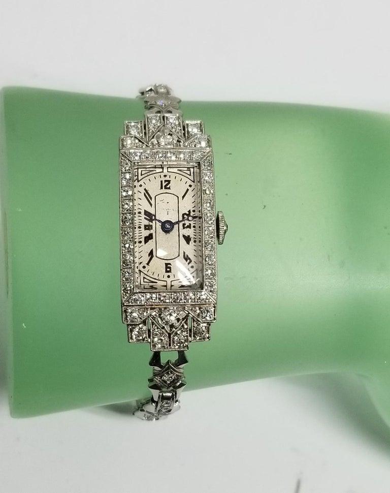 Vintage Art Deco Palladium Diamond Watch For Sale 1