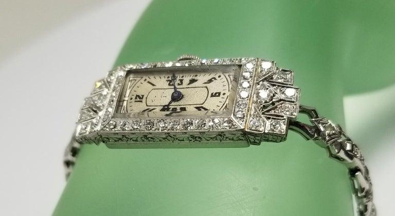 Vintage Art Deco Palladium Diamond Watch For Sale 2