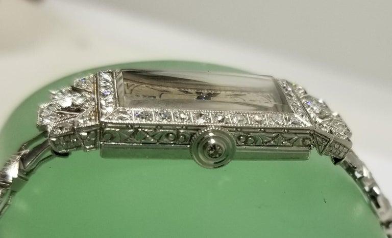 Vintage Art Deco Palladium Diamond Watch For Sale 3