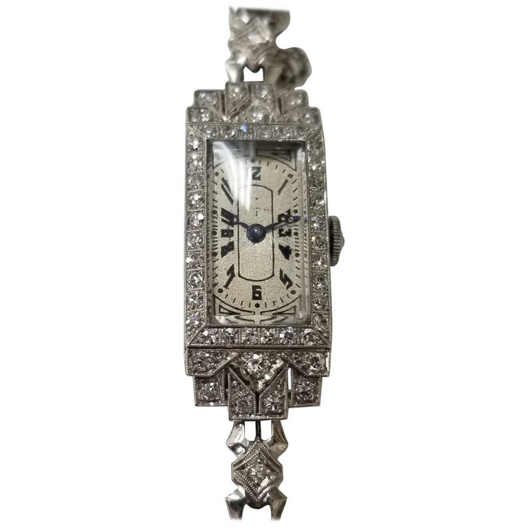 Vintage Art Deco Palladium Diamond Watch For Sale