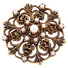 Vintage Art Deco Pearl Floral Filigree Pendant Brooch