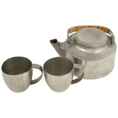 Vintage Art Deco Pewter Teaset by Harald Buchrucker, Germany, 1940s