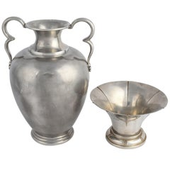 Vintage Art Deco Pewter Vase and Bowl by Svensk Tenn, 1933