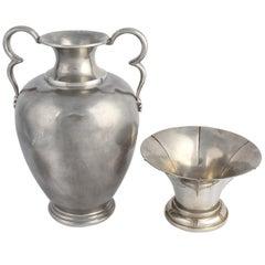 Vintage Art Deco Pewter Vase and Bowl by Svensk Tenn, 1933