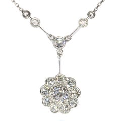 Vintage Art Deco Platinum 1.10 carat Diamond chandelier necklace
