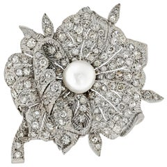 Vintage Art Deco Platinum and Diamond Pearl Flower Brooch
