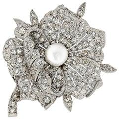 Vintage Art Deco Platinum and Diamond Pearl Flower Brooch