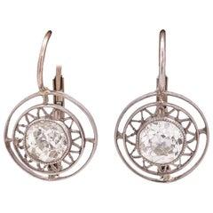 Vintage Art Deco Platinum and WG OEC Dangle Diamond Earrings 1.20 Carat