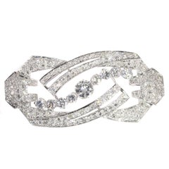 Vintage Art Deco Platinum Diamond '4.64 Carat' Brooch from the 1950s