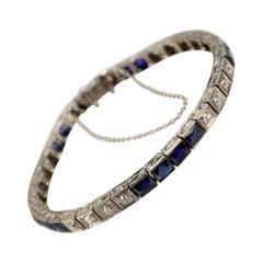 Vintage Art Deco Platinum Diamond and Sapphire Tennis Bracelet