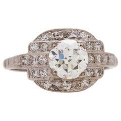 Vintage Art Deco Platinum Diamond Engagement Ring 1.00 Carat H-VS2, circa 1930s