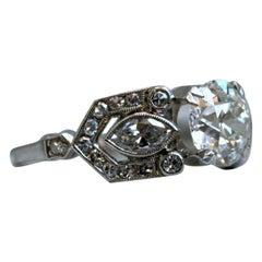 Vintage Art Deco Platinum Diamond Engagement Ring, 2.58 Carat