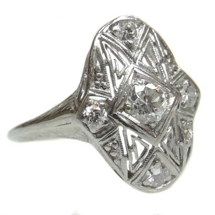 Vintage Art Deco Platinum Diamond Filigree Ring