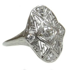 Vintage Art Deco Platinum Diamond Filigree Ring