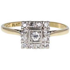 Vintage Art Deco Platinum Gold Diamond Cluster Ring