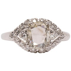 Vintage Art Deco Platinum Rose Cut Diamond Engagement Ring with Diamond Accents