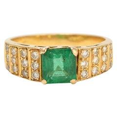 Vintage Art Deco Revival Emerald Diamond Ring