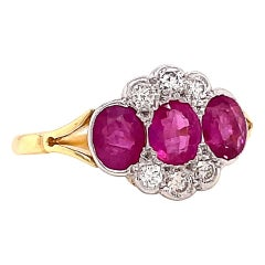 Vintage Art Deco Revival Ruby Diamond 18 Karat Gold Ring