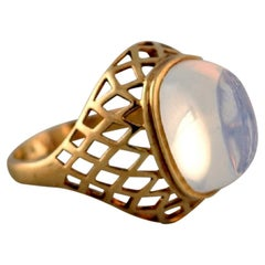 Vintage Art Deco Ring in 14 Carat Gold Adorned with Mountain Crystal, 1940s
