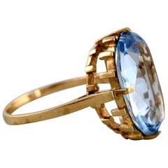 Vintage Art Deco Ring in 8 Carat Gold Adorned with Large Light Blue Stone