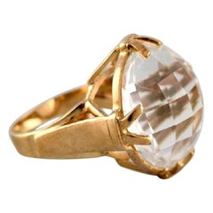 Vintage Art Deco Ring in 9 Carat Gold Adorned with Large Clear Stone