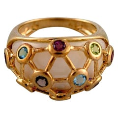Vintage Art Deco Ring in 9 Carat Gold Adorned with Several Semi-Precious Stones