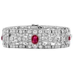 Vintage Art Deco Ruby and Diamond Bracelet