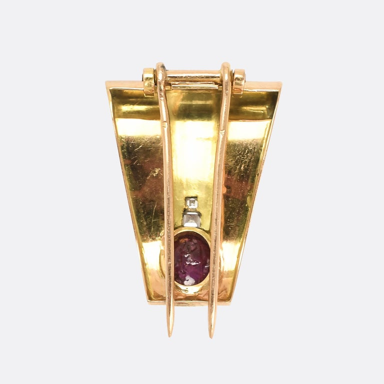Women's or Men's Vintage Art Deco Ruby Cabochon Diamond Brooch For Sale