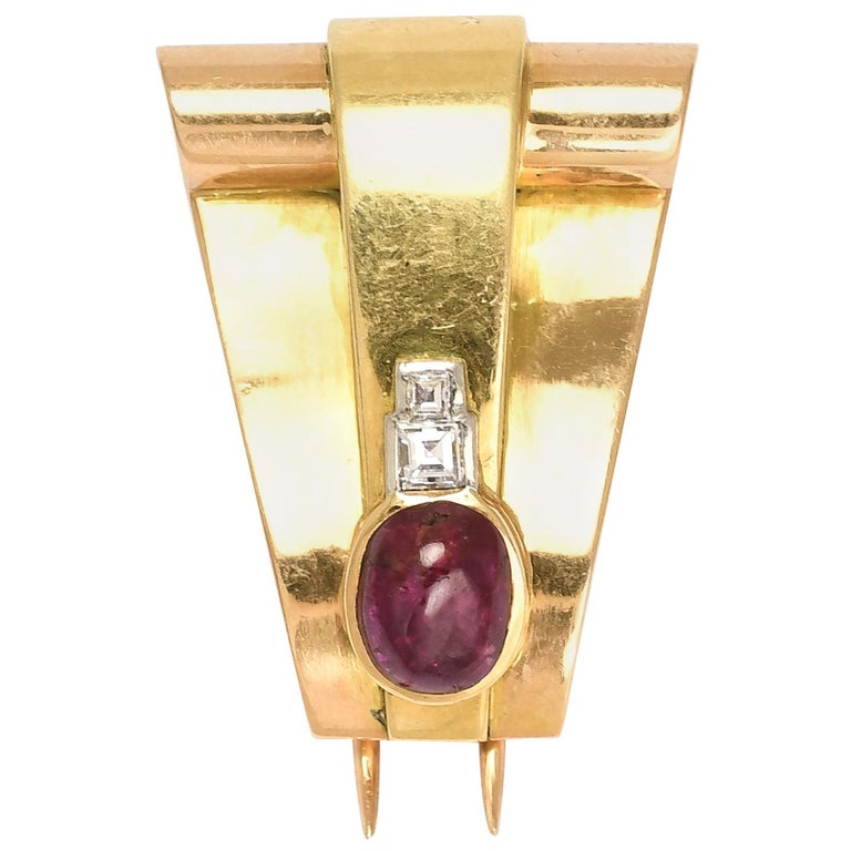 Vintage Art Deco Ruby Cabochon Diamond Brooch For Sale