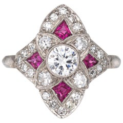 Vintage Art Deco Ruby Diamond Ring Platinum Cocktail Antique Jewelry