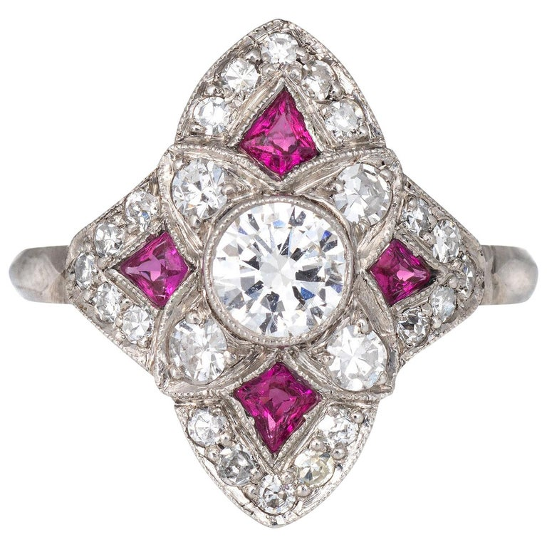 Vintage Art Deco Ruby Diamond Ring Platinum Cocktail Antique Jewelry For Sale