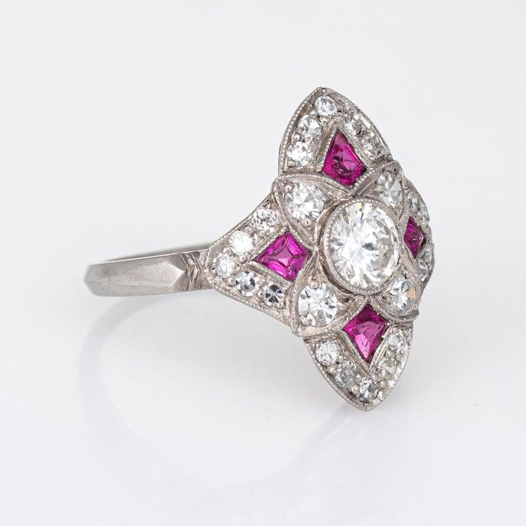 Round Cut Vintage Art Deco Ruby Diamond Ring Platinum Cocktail Antique Jewelry For Sale