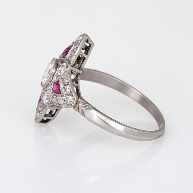 Vintage Art Deco Ruby Diamond Ring Platinum Cocktail Antique Jewelry In Good Condition For Sale In Torrance, CA
