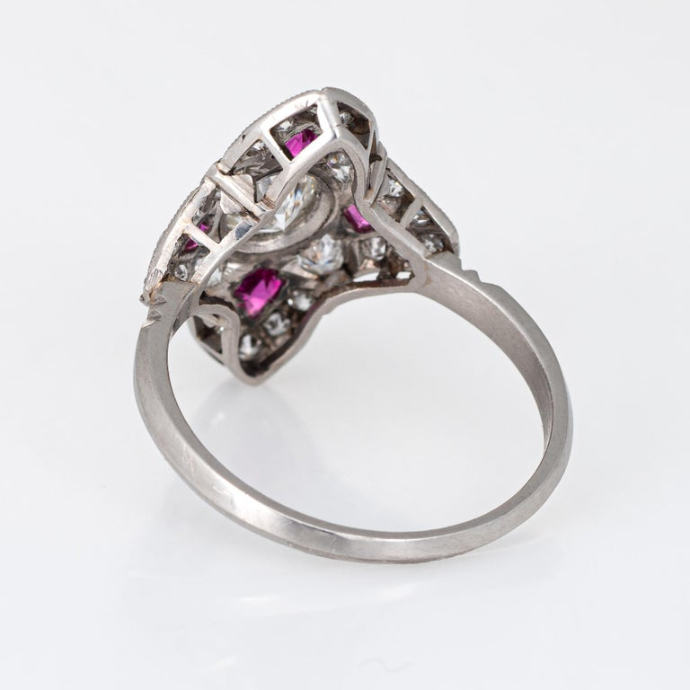 Women's Vintage Art Deco Ruby Diamond Ring Platinum Cocktail Antique Jewelry For Sale